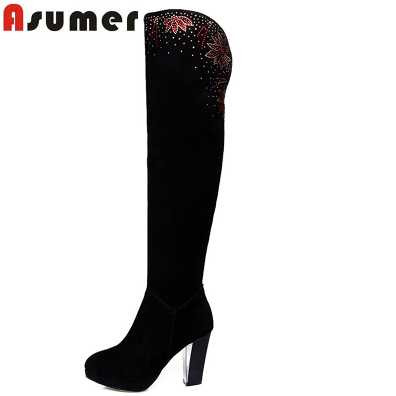 Autumn winter high quality hot sale genuine leather over the knee boots sexy rhinestone high heel black boots for women<br><br>Aliexpress