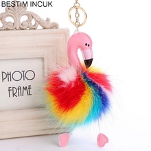 HOT SALL Cute pompom flamingo fluffy fake rabbit fur ball Toys kids gifts Hang Pendant Car Accessories(China)