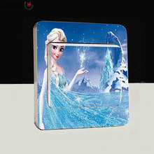 Old Passenger _ Light Switch Sticker switch wall stickers Princess Anna and Elsa  Wall Decoration For Kids Wallpaper Modern