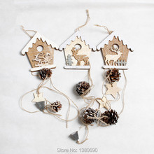 3pcs/lot Handmade Wooden Christmas Tree Ornaments Deer Tree Snow Shape Decoration Wood Rustic Tags Christmas Decor Gift Hanging