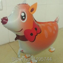 50pcs/Lot, Free Shipping, Wholesale,Deer Pet Walking Animals Balloons  Helium Mylar Balloons, Baby's toy, Party Decoration. .