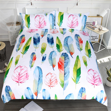 Free shipping 3pcs watercolors feather 1pc duvet cover and 2pcs pillow cases twin full queen king size bedding set home textile(China)