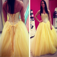 vestidos cortos de gala Sweetheart Sleeveless A Line Long Sweep Train Yellow Prom Dreses Beaded Crystal Women Formal Gowns