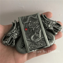 Retail New Style High quality Silver Dragon lighter Men's Belt Buckles With Metal Cowboy Belt Head Jewelry Fit 4cm Wideth Belt
