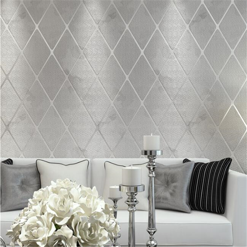 beibehang  Bedroom Wallpaper 3D Stereo Living Room TV Wall Wall Relief Wallpaper Non-woven Diamond Striped Plaid  papier peint <br>