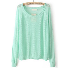 NIFULLAN Fashion Lady New Knitwear Mint Green Long Sleeve Hollow Out Loose East Knitted Crochet Pullover Baggy Sweater Women
