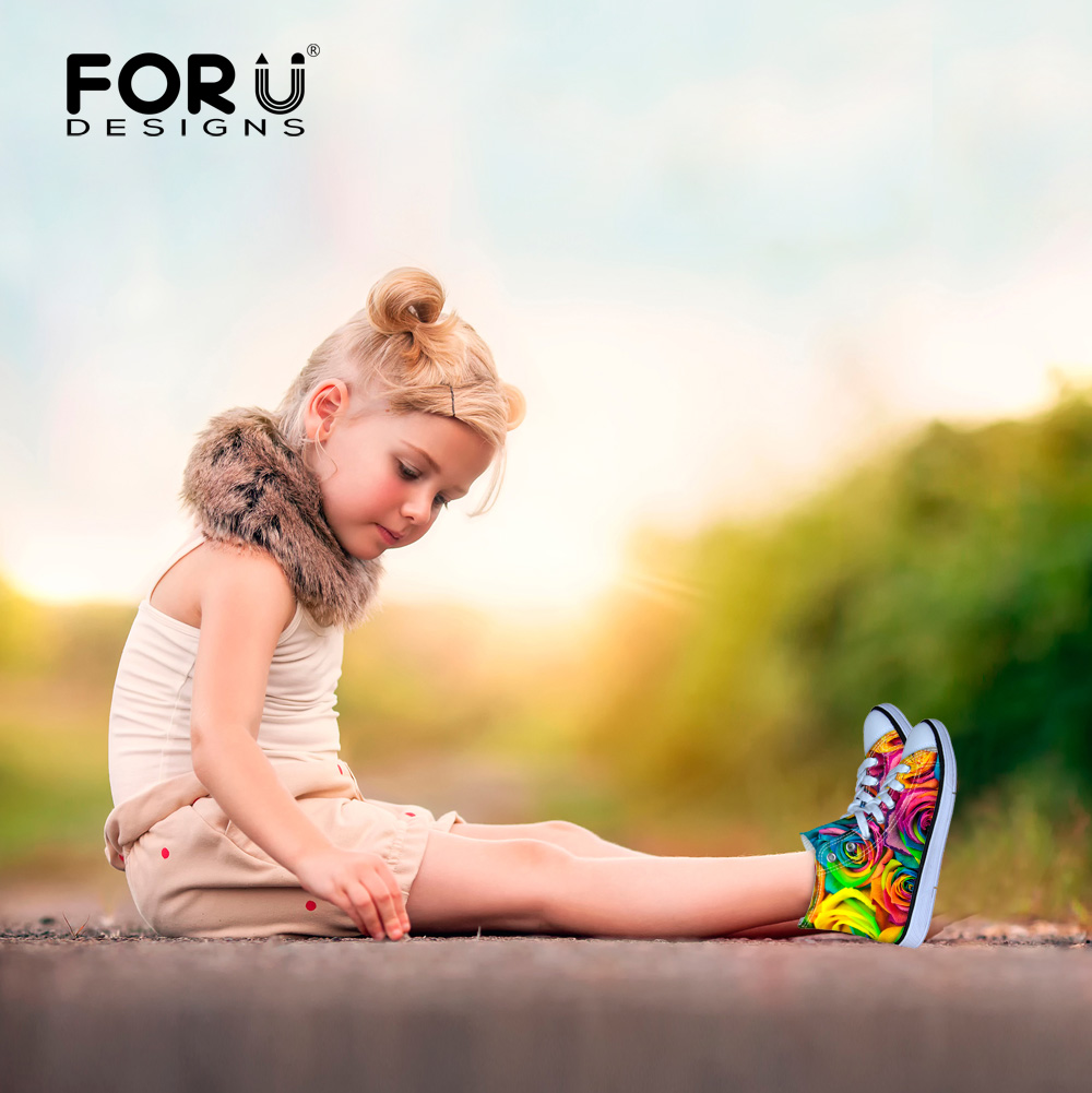 FORUDESIGNS Girls High-Top Lace Up Sneakers Floral Canvas Platform Walking Shoes Painted Red Colorful Kids Children Sneakers<br>