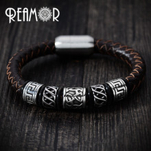 REAMOR Trendy Men Black Leather Bracelet 316l Stainless steel Tibetan Totem Bead Bracelets with Strong Magnet Clasp 17-21cm(China)
