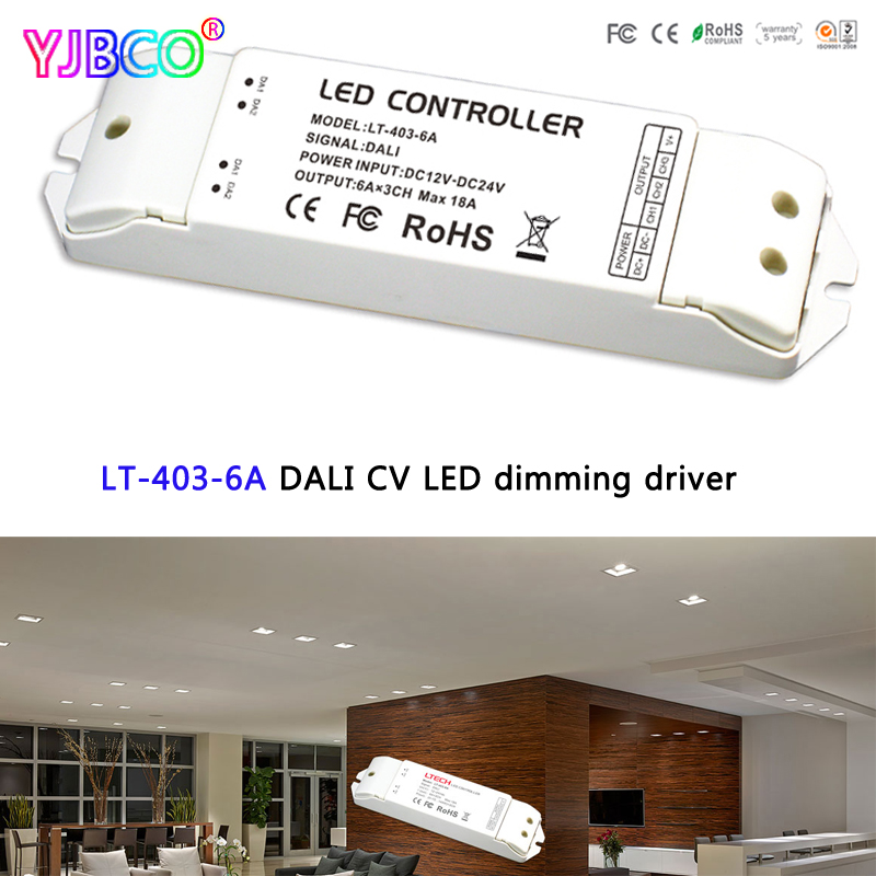 LTECH LT-403-6A DALI LED Dimming Driver;DC12-24V input;6A*3CH Max 18A output led controller for RGB led strip<br>