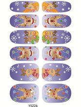 Y5226 Manicure Foil Decor Decal Adhesive Nail Art Stickers Merry Christmas Light Purple Deear Cartoon Design Nail Wrap Sticker
