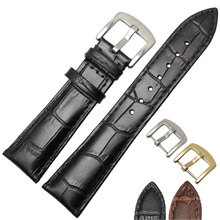 Genuine Leather Watchband Men Black Brown 19mm 20mm 21mm 22mm Soft Strap Watch Accessories and Steel Metal Needle Buckle(China)