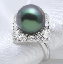 New 1107+++Black mother of shell pearl ring 12mm Malachite Green Noble Temperament(China)