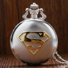 Hot Sale Fashion Silver Superman Theme Quartz Pocket Watch Round Blue Dial with Necklace Chain Gift(China)