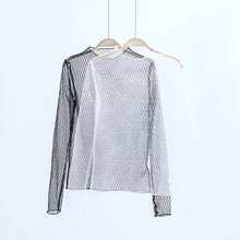 2017 New Fshion Women Rhombus Super Sheer Mesh top black white Long Sleeve Fishnet Shirt Tees Tops T-shirts