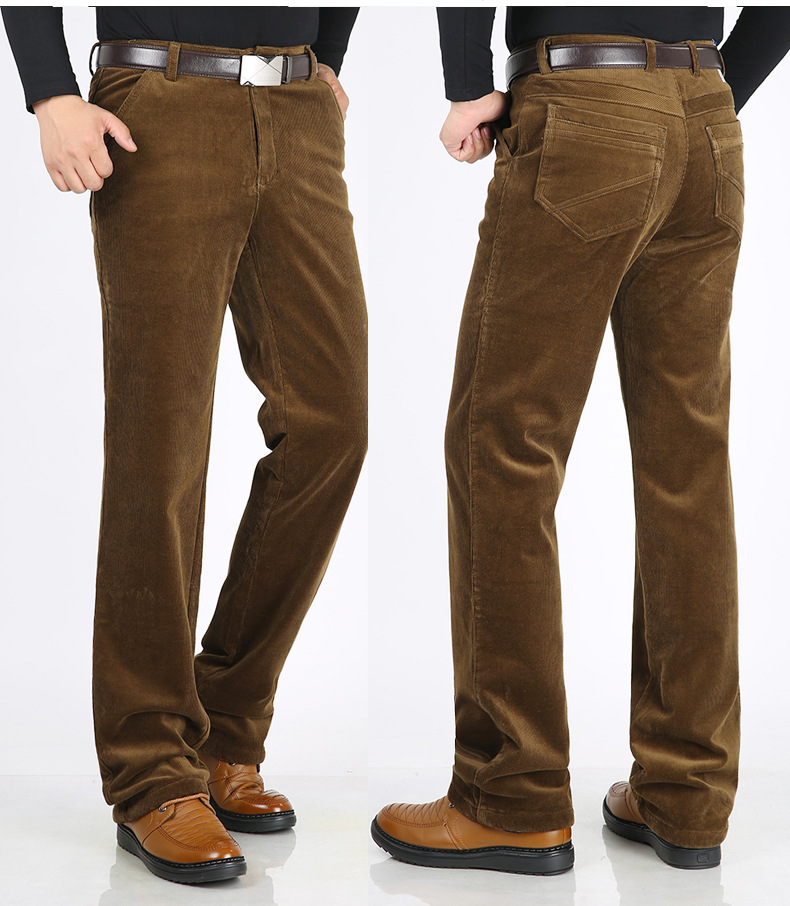 Men's Casual Straight Loose Fleece Thicken Warm Winter Pants Corduroy Trousers Plus Size 40 42 44