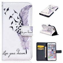 Cell Phone Cover For iPhone 6S Plus & 6 Plus 5.5inch Leather Bag Wallet For iPhone 6S Plus Cases Beautiful Butterfly Cover