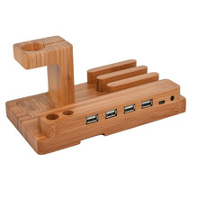 Bamboo Wooden 4 in 1 USB 4 Port Micro HUB Charging Stand Station Dock Platform Cradle Holder for iPhone iPad iPod Apple Watch