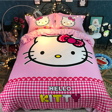 Hello Kitty bedding set king queen twin Cartoon pink plaid cotton blanket duvet quilt cover single double kids girls bed linen