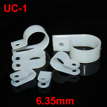 "150pcs UC-1 6.35mm 1/4"" White Plastic Nylon Wire Hose Tube Fansten R-Type Fixed Cable Tie Mount Organizer Holder R Clip Clamp"