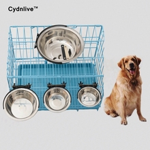 1PCS 2017 Pet Dog Cat Bowl Can Hang Stationary Dog Cage Bowl Stainless Steel Hanging Bowl Three Dimension Stationary Dog Bowl(China)