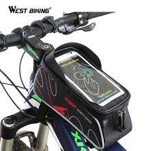 WEST BIKING Bicycle Bag MTB Bike Front Frame Top Tube Bag Accessories Waterproof Anti Skid for 6 inch Phone Cycling Bicycle Bags(China)