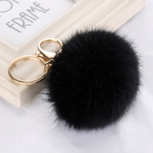 Charm Keyrings Pendant Pom Pom Black Faux Rabbit Fur Ball Keychain Keychains Key Chains Rings For Bags Car Cell Phone Wholesale(China)