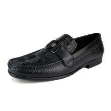 Genuine Leather Men's Casual Shoes 2017 Driving Shoes Italian Black Loafers Flat Moccasins Party or Wedding Dressing Plus Size