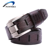 FUNTEKS New Luxury Designer Belts For Men High Quality Cow Genuine Leather Men Belt Male Pin Buckle Strap Mens Ceinture Homme