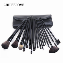 CHILEELOVE 18 Piece Matte Black Brown Makeup Brush Kit Professional Makeover Cosmetic Tool With Bag