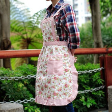 Women Restaurant Cute Cotton Bib Rose Flower Grid Print Home Kitchen Cooking Apron