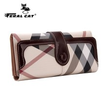 High Quality Womens Long Wallets 2017 New Fashion Designer Passport Holder Plaid Wallets And Travel Cell Phones Purses 7000