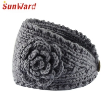 SunWard New Fashion Fashion Women Crochet Headband Flower Winter Ear Warmer Head wrap Knitted Hairband July17 Drop Shipping
