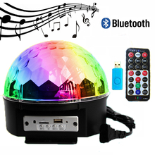 Bluetooth Voice Control Led Stage Lamp 9Colors MP3 Magic Ball Disco DJ Light With Remote Controller Christmas Laser Projector(China)