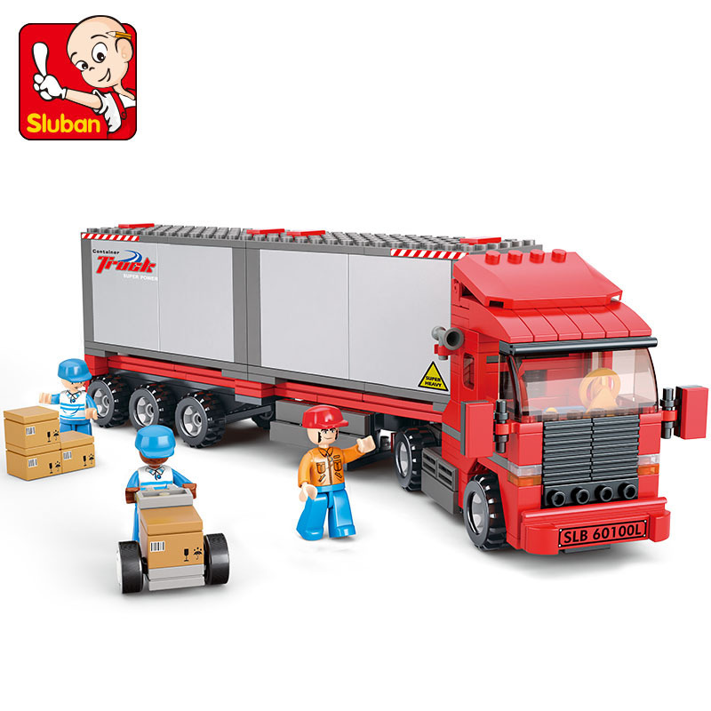 Sluban model building kits compatible with lego city truck 707 3D blocks Educational model &amp; building toys hobbies for children<br><br>Aliexpress