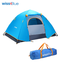 Wissblue Hydraulic Automatic Windproof Waterproof Double Layer Tent 2-3 person Tents Outdoor Hiking Camping Tent Picnic Tents(China)