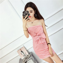 New Women Mini dress Bow Spaghetti Strap Plaid Slim Thailand 2017 Popular Logo Sexy Dresses Pink Black 8419