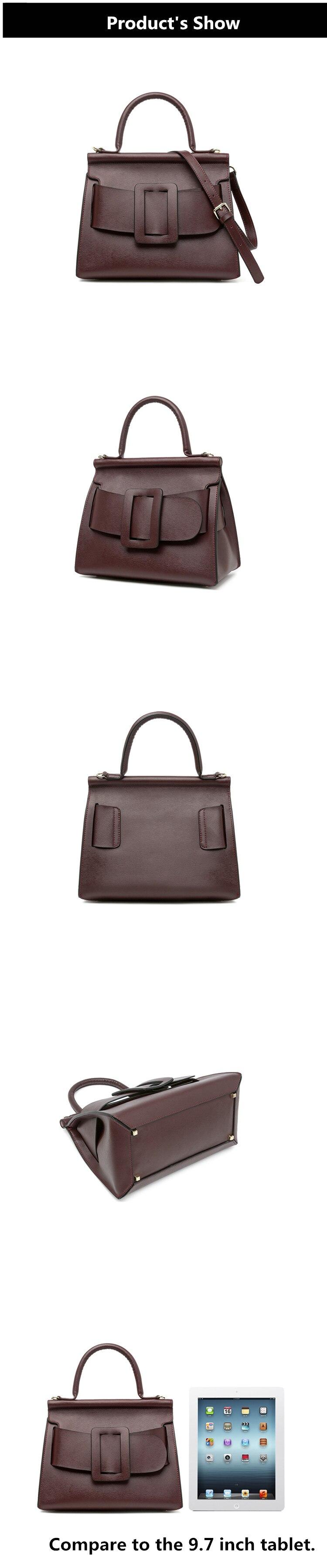 Famous Brand Designer Handbag Genuine Leather Women Vintage Bark Grain Big Buckle Handle bags with strap belt Boyy (4)_