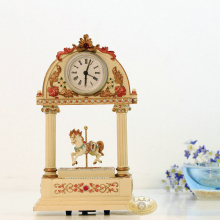 Colored drawing musical instruments clock music box home decorations carousel music box