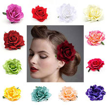 15 Colors Wedding Flowers Spring Bridal   Brooch Red Blue Purple Yellow Rose Hair Clips Red Flower Hairpin
