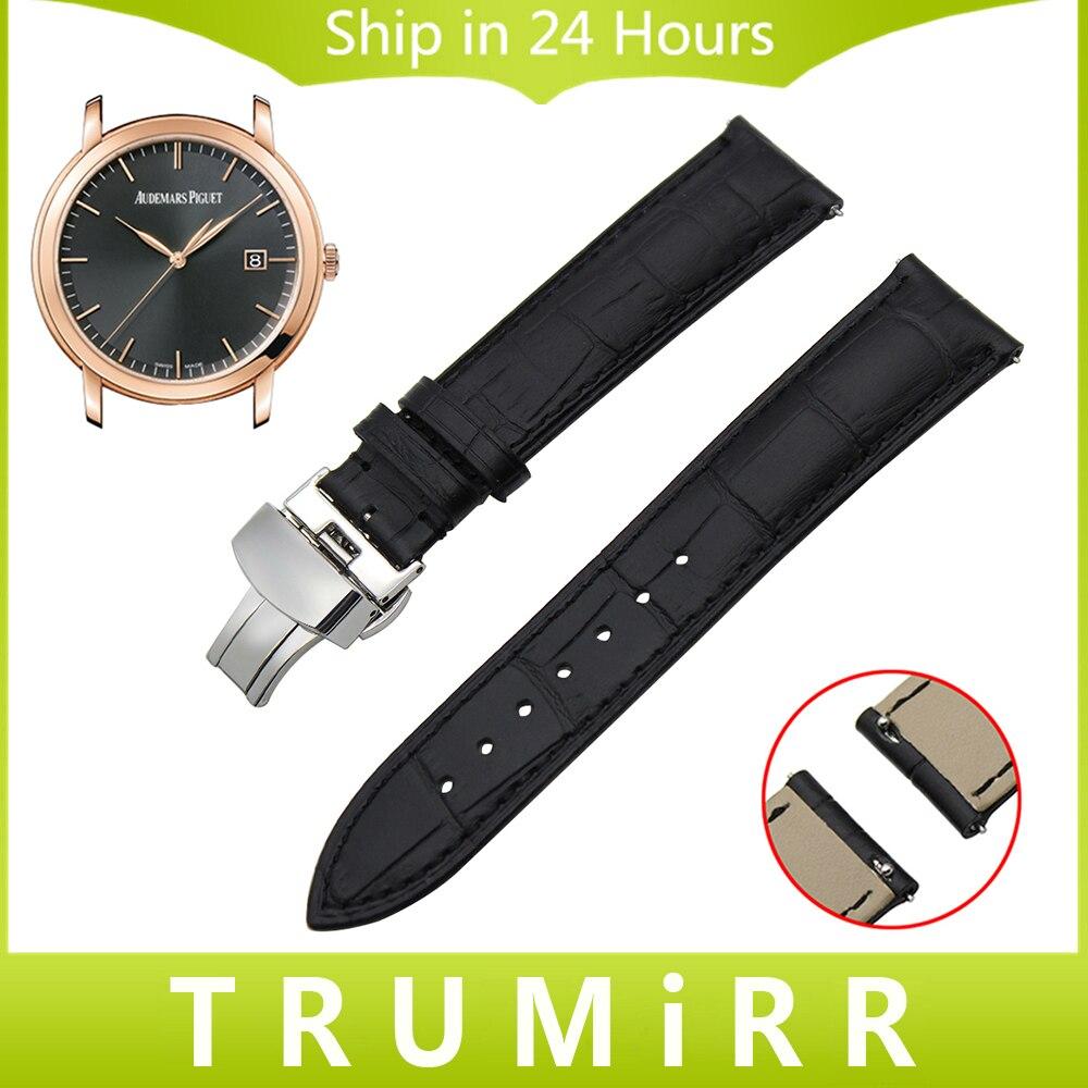 18mm 20mm 22mm Quick Release Watch band Genuine Leather Strap for AP Audemars Piguet Jules Butterfly Buckle Belt Wrist Bracelet<br><br>Aliexpress