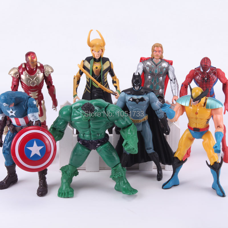 New 8pcs/lot The Avengers PVC Model Figure Toys With LED Spider man Hulk Thor Superman Captain American Figure Toys<br><br>Aliexpress