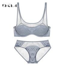 Buy New Young Girl Bralette Top Black Women Bra Set Sexy Transparent Lace Underwear Sets thin Cotton Brand Lingerie Fashion 2017