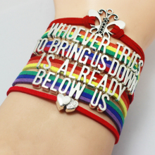 Rainbow Color No More Fake Smiles Bullying Awareness Bracelet Velvet Band Whoever Try to Bring Us Down is Ready Below Us Bangle