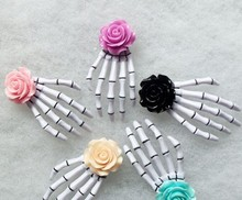 24pcs Free Shipping Fashion Rose Flower skeleton claws skull hand hair clip Zombie Punk Horror hairwear hairpin bobby pin(China)