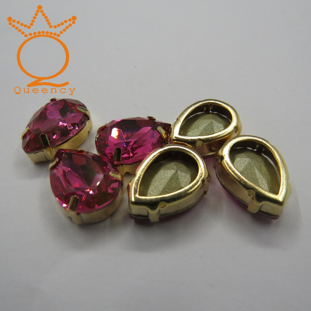 k9 quality10*14mm pear shape Fuchsia color crystal rhinestone with Newest price for ladies garment and shoes decoration<br>