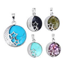 New Designs Silver Plating  Star Moon Charm Pendants Jewelry Natural Real Gem Stone Quartz Opal Pendant Women DIY