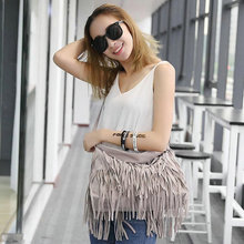 2018 BILLETERA New Women Faux Leather SHoulder Messenger Cross Body Tassel Around Bags Pure Style Fresh bags(China)