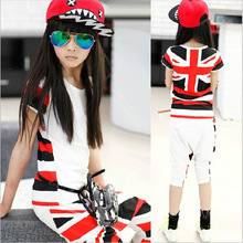 Girls Children's Wear Summer New Suit Pants Union Jack Stretch Short Sleeve T-shirt + Harlan Kids Clothing Sets(China)