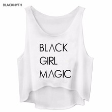 BLACKMYTH Tank Tops BLACK GIRL MAGIC Letters Print Female Fitness Vest Women's T-Shirts