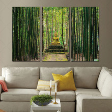 Modern Canvas Painting Wall Art Pictures 3 Panels Framed Artwork Paintings Buddha Green Bamboo Stones Zen Prints and Posters(China)